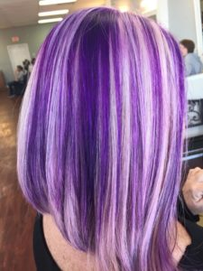 Jimmy's Barber & Style young woman purple hairstyle